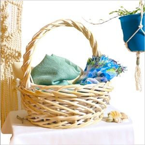 Whitewashed Wicker Woven Low Rim Basket
